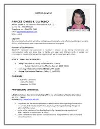 Job Resume Samplesor Teachers With No Experience College Students