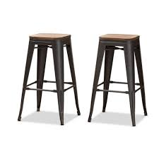 Set Of <b>2</b> Henri Tolix Inspired Finished Steel <b>Stackable Barstools</b> With ...