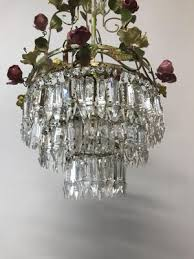 vintage italian crystal chandelier with porcelain flowers 3