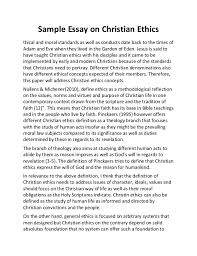 sample essay on christian ethics sample essay on christian ethics thical and moral standards as well as conducts date back to