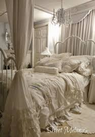 shabby chic canopy bed and bedding
