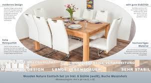 Wooden Nature Esstisch Set 311 Inkl 8 Stühle Weiß Buche