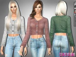 Clothing: 232 - Cropped Sweater by sims2fanbg from The Sims Resource • Sims  4 Downloads   Cropped sweater, Sims 4 clothing, Clothes