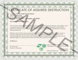 Bunch Ideas Of Certificate Of Destruction Template About Free