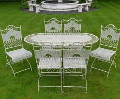 white wrought iron garden furniture. JAYDEN Shabby Chic White Wrought Iron Metal Garden Furniture Patio Table \u0026 6 Chairs I