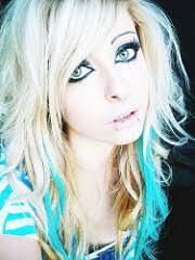 bibi barbaric emo scene hair style blonde blue curly eyes make up by bibi