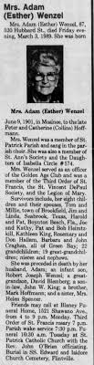 Mrs Adam Wenzel obit - Newspapers.com