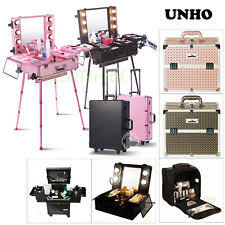studio lighted wheeled rolling makeup case and portable cosmetic train case box