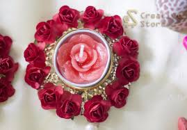 Red Paper Flower Hand Crafted Festive Floor Diya With Red Flowers Set Of 2