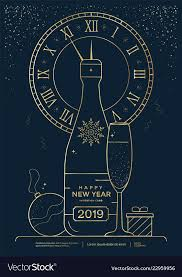 New Year Greeting Card Design With Stylized Vector Image