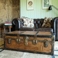 Furniture, Brown Rectangle Wooden And Metal Vintage Trunk Coffee Table  Design Ideas To Complete Your