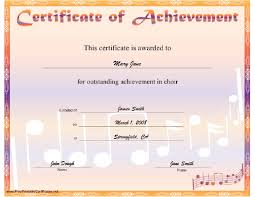 Choir Certificate Template A Printable Certificate For Outstanding Achievement In Choir