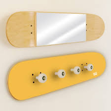 Yellow Coat Rack oat rack and mirror made on original skateboards 49