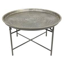 round metal coffee table  at home