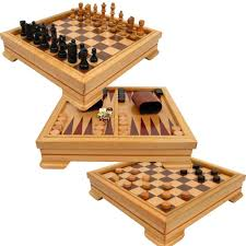 Wooden Board Game Sets Amazon Deluxe 10000in100 Game Set Chess Checkers Backgammon 6