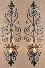 wrought iron wall candle holders