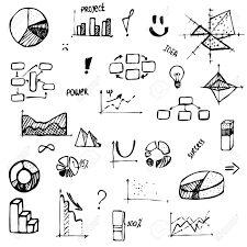 Drawing Chart Set Of Hand Drawing Business Diagram Histogram Pie Chart Graph