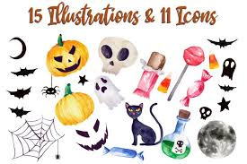 Want to discover art related to svg? Free Decorations Download Halloween Watercolor Clip Art Pack With Svg Vector Versions Free Design Resources