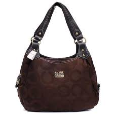 Big Sale Coach Logo Signature Medium Coffee Hobo JJ5429
