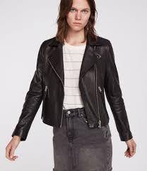 womens dalby leather biker jacket black image 1