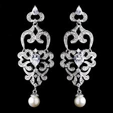 antique silver diamond white pearl chandelier earrings wedding bridal jewellery how divine