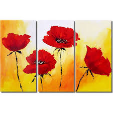 3 panel red poppy flower hand painted canvas oil paintings modern