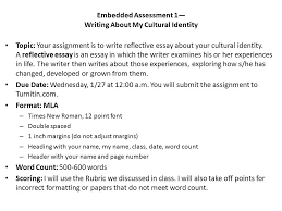 embedded assessment writing about my cultural identity topic  1 embedded assessment