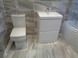 white bathroom tiles. Simple Bathroom Grey Stone Effect Floor And Wall Tiles With White Bathroom Suite To Tiles