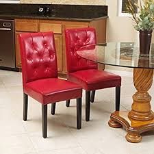 great deal furniture waldon red leather dining chairs w tufted backrest set of 2