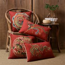 oriental throw pillows. Simple Pillows Oriental Luxury Red Loong Phoenix Square Throw Pillowalmofadas  Casechinese Florid Cushion Cover Home Decore From Reliable Decor  With Throw Pillows H