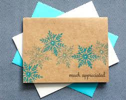 snowflake thank you cards snowflake thank you winter thank you handmade card set
