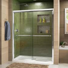 DreamLine Duet 44-in to 48-in W Frameless Chrome Sliding Shower Door