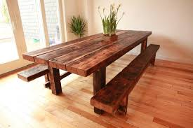 modern rustic wood furniture. Furniture:Rustic Rectangle Wood Textured Farmhouse Table With Brown Natural Bench Modern Rustic Furniture
