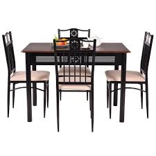 elegant 5 piece dining set wood metal table and 4 chairs kitchen breakfast furniture new