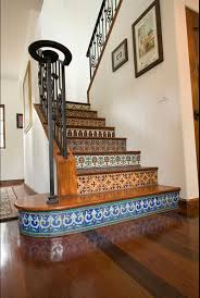 make your stair case more eye catching with saltillo and talavera tile talavera tile staircase