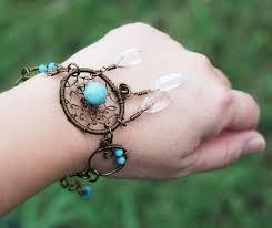 Wire Wrap Dream Catcher Tutorial Dream Catcher Bracelet Gypsy Wire Wrap Turquoise Clear Quartz 98