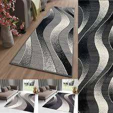 modern grey dark grey rug runner tapiso short pile rugs waves stripes carpet