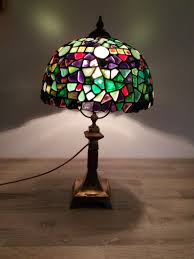 Gebrandschilderd Glas Paars Groen Tiffany Lamp Glas Fusion Lamp Bureaulamp Tafellamp Bed Lamp Dinning Room Light Decor Van Het Nachtkastje