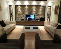 feature wall lighting. contemporary beige floor living room idea in other with a tv stand feature wall lighting t