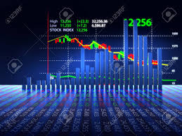 3d Stock Chart 3d Rendering Of Stock Market Chart On Reflective Surface