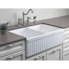 alfi ab537 w white 32 fluted double bowl fireclay farmhouse kitchen sink