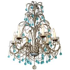 italian beaded arm six light chandelier with turquoise glass drops for