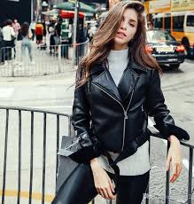 autumn fashion street women short pu leather jacket zipper black las basic jackets slim fit women coats warm jackets long jackets from bmw2