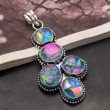 gorgeous beautiful charms dichroic glass pendant 925 sterling silver necklace pendant 3 inch a133 rzne68483