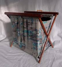 vintage henry seligman ny folding sewing basket knitting bag lined wood frame 1878654304