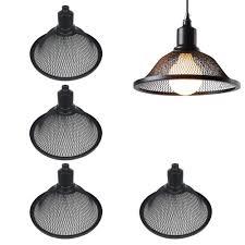 kiven stglighting 4 pack industrial vintage black metal bulb guard iron mesh fixture replacement hanging