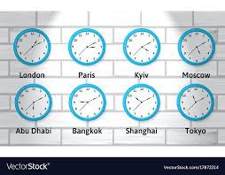 timezone wall clock time zone wall clocks vector image two time zone digital wall clock timezone wall clock
