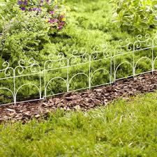 decorative garden fence white metal steel small low yard pathway border edging