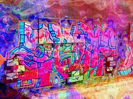 graffiti bricks pink fluorescent