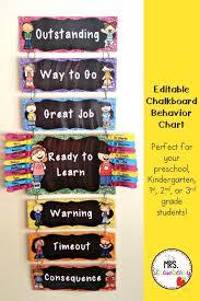 Kindergarten Classroom Behavior Chart Chalkboard Behavior Reward Peg Chart Clip Chart Editable